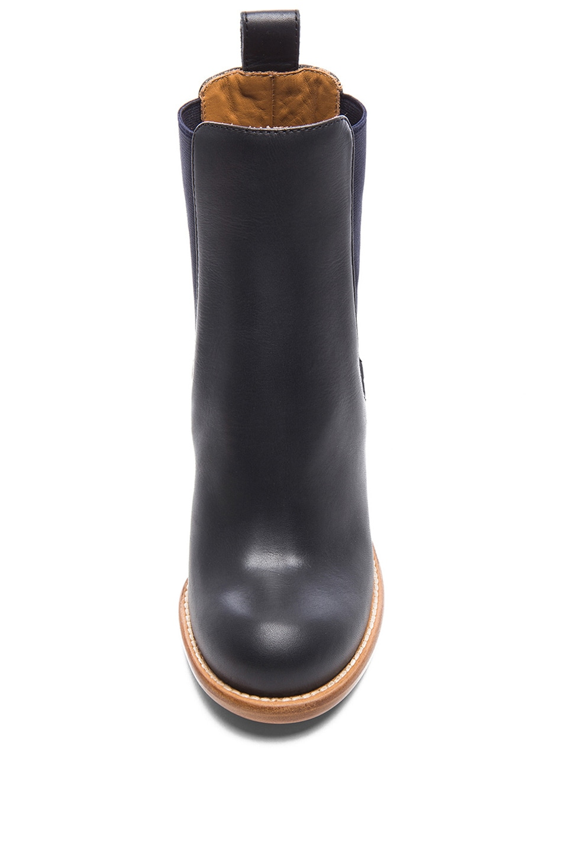 Image 4 of Chloe Leather Booties in Black & Navy Blue