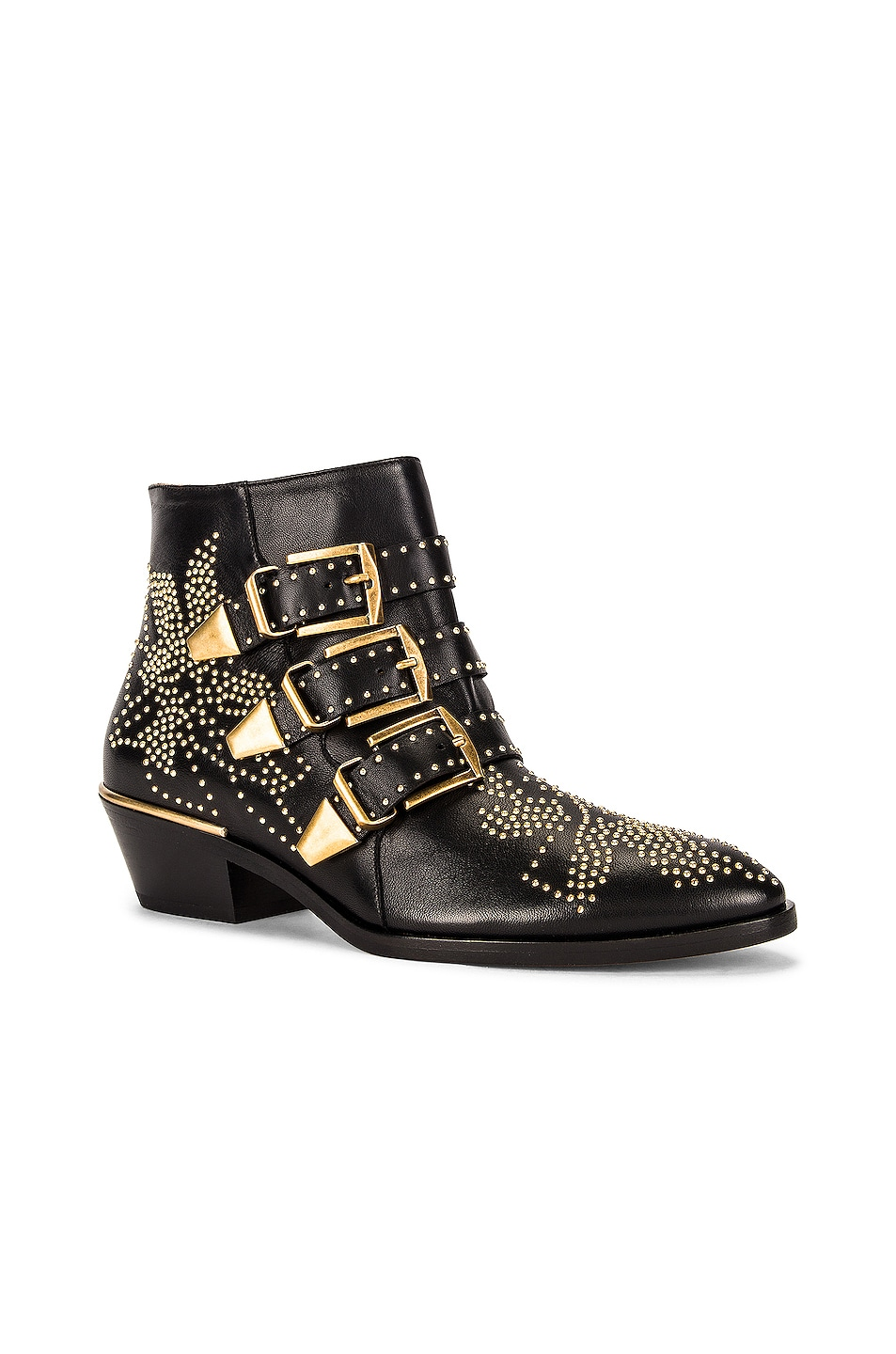 Image 2 of Chloe Susanna Leather Studded Booties in Black
