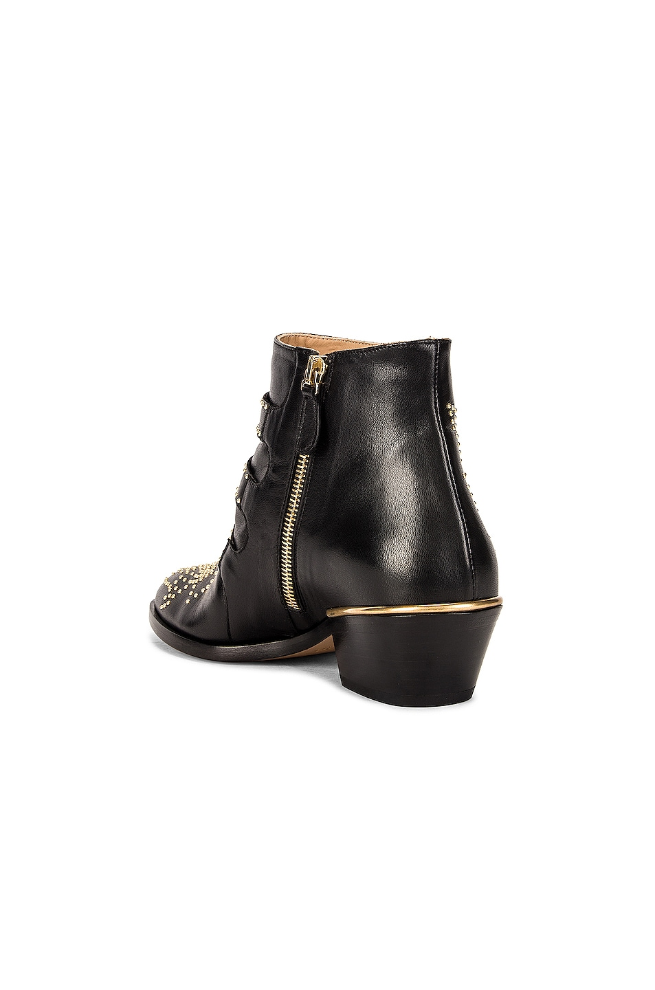 Image 3 of Chloe Susanna Leather Studded Booties in Black