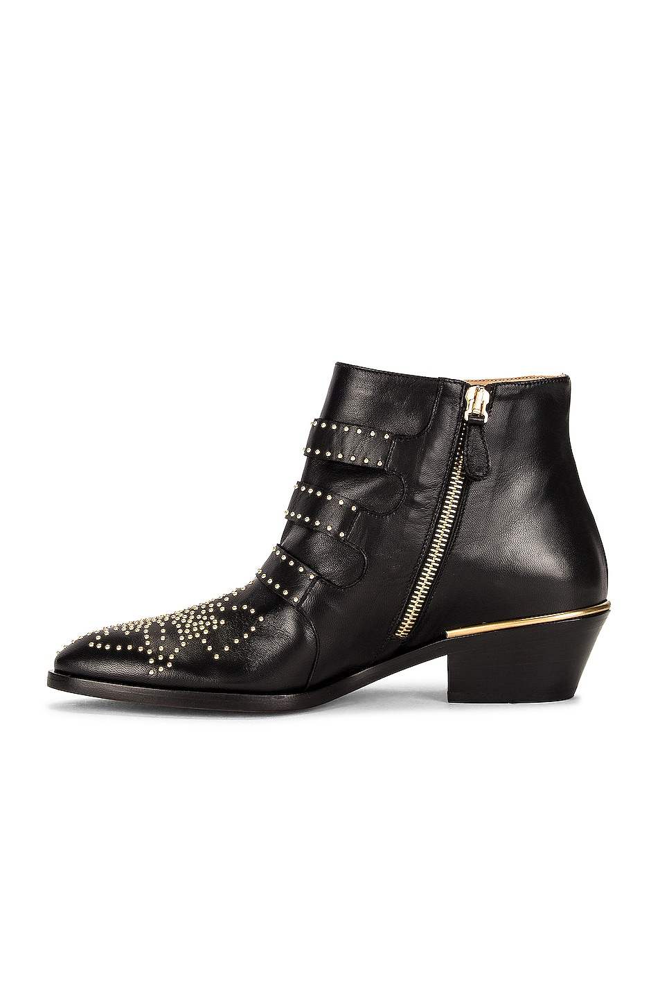 Image 5 of Chloe Susanna Leather Studded Booties in Black