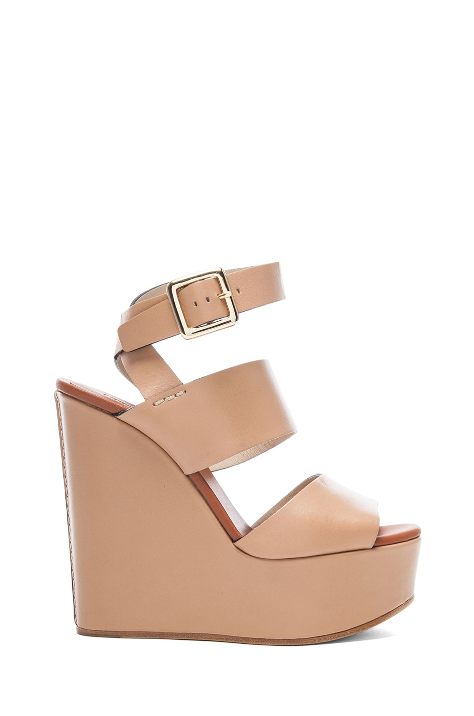 Image 1 of Chloe Leather Wedges in Wet Sand