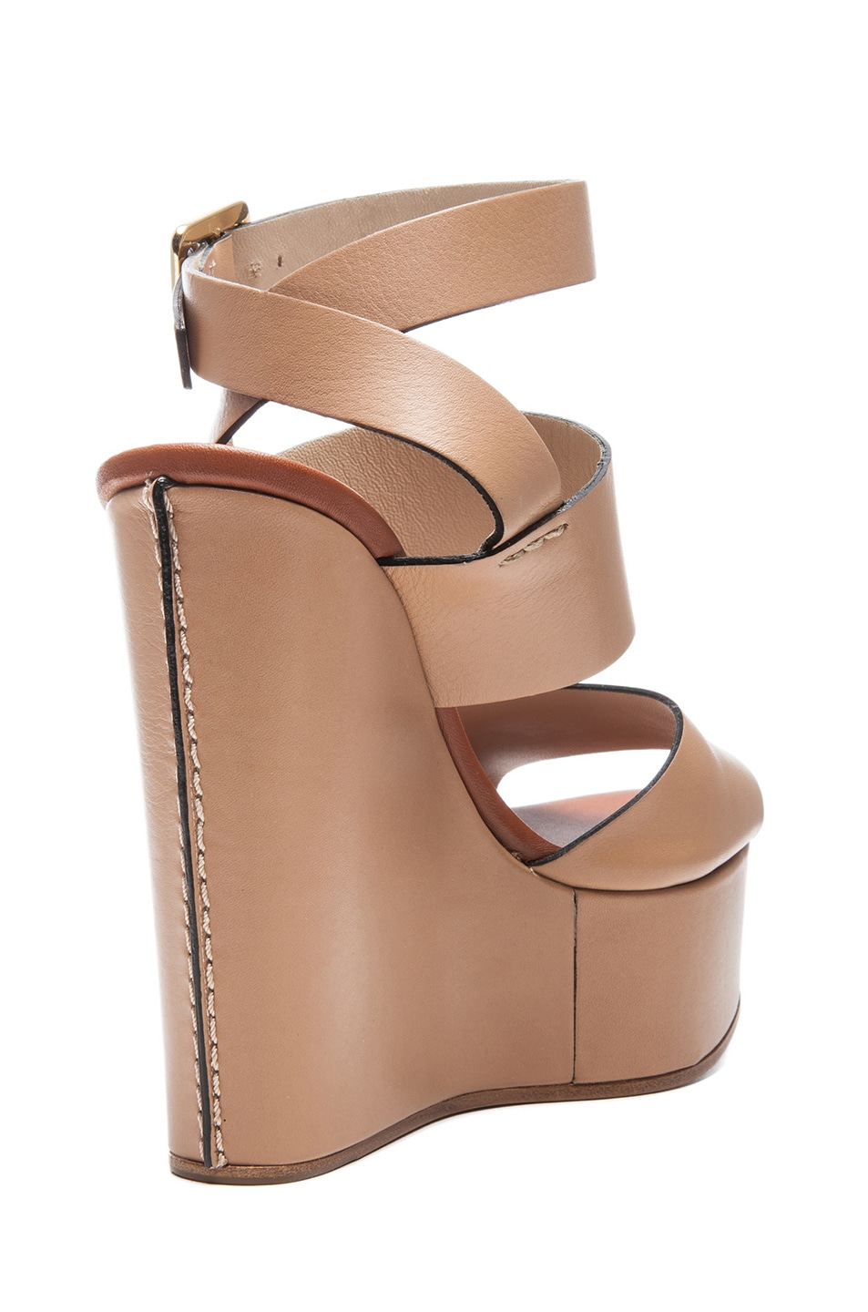 Image 3 of Chloe Leather Wedges in Wet Sand