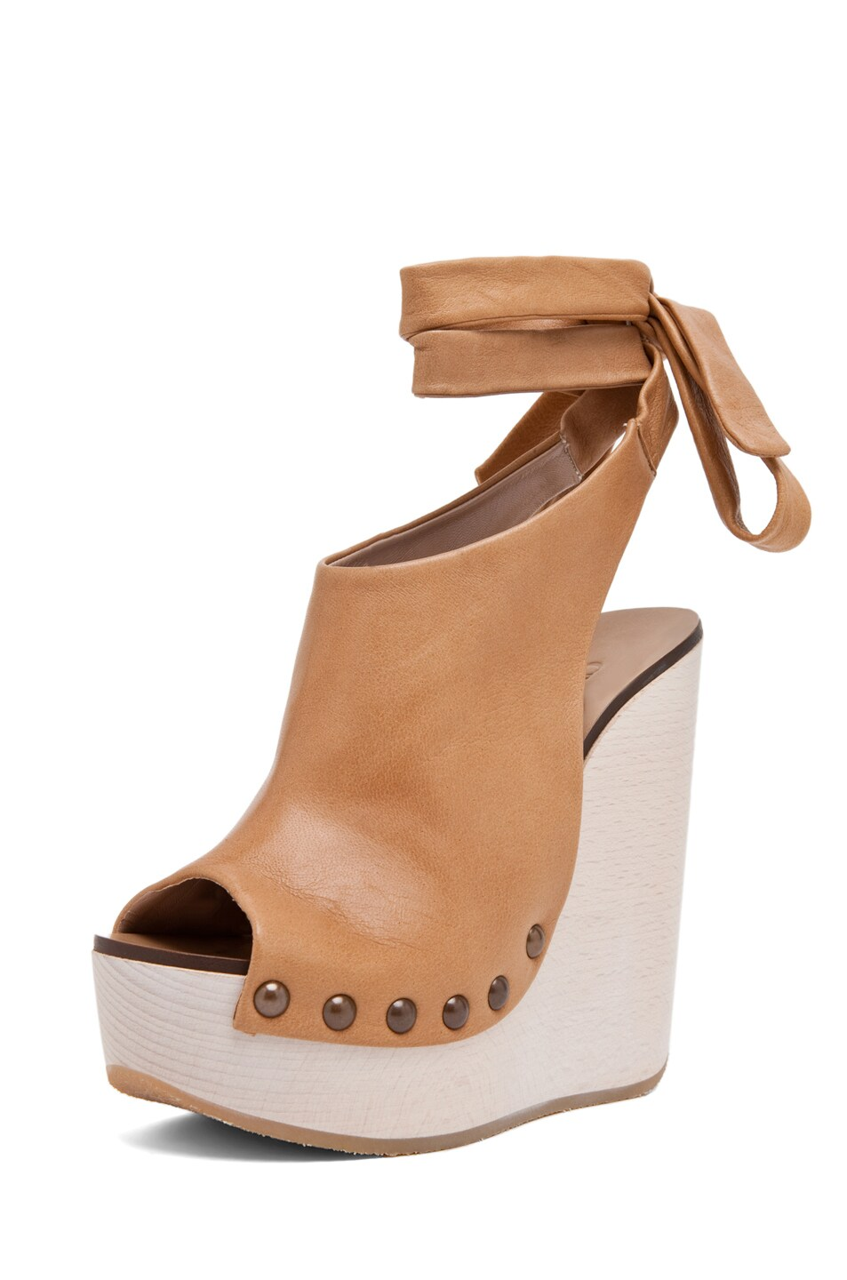 Image 2 of Chloe Leather Wrap Around Wedges in Tan