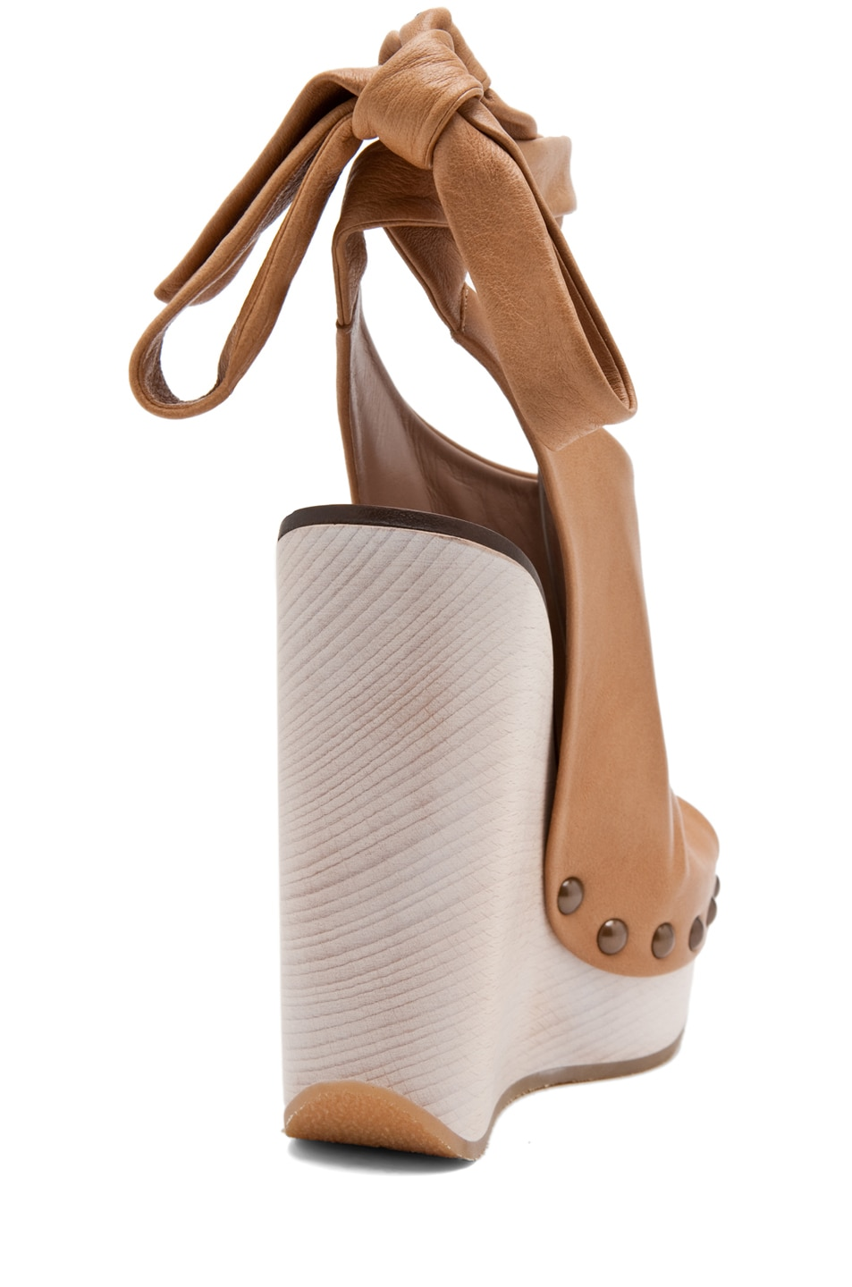 Image 3 of Chloe Leather Wrap Around Wedges in Tan