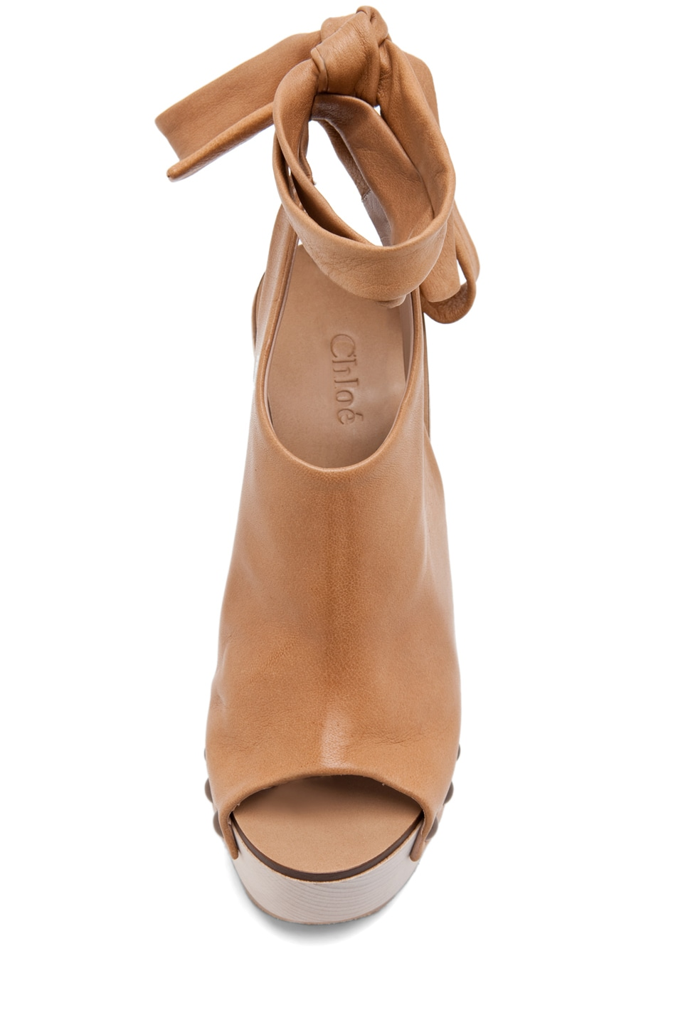 Image 4 of Chloe Leather Wrap Around Wedges in Tan