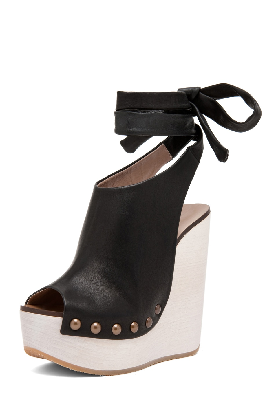 Image 2 of Chloe Leather Wrap Around Wedges in Black