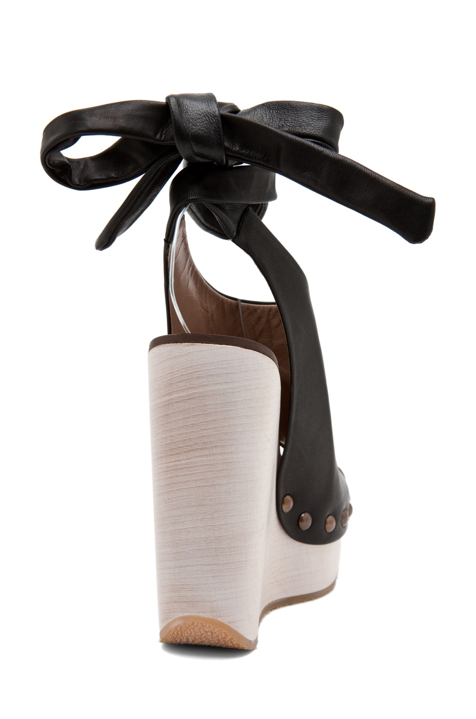 Image 3 of Chloe Leather Wrap Around Wedges in Black