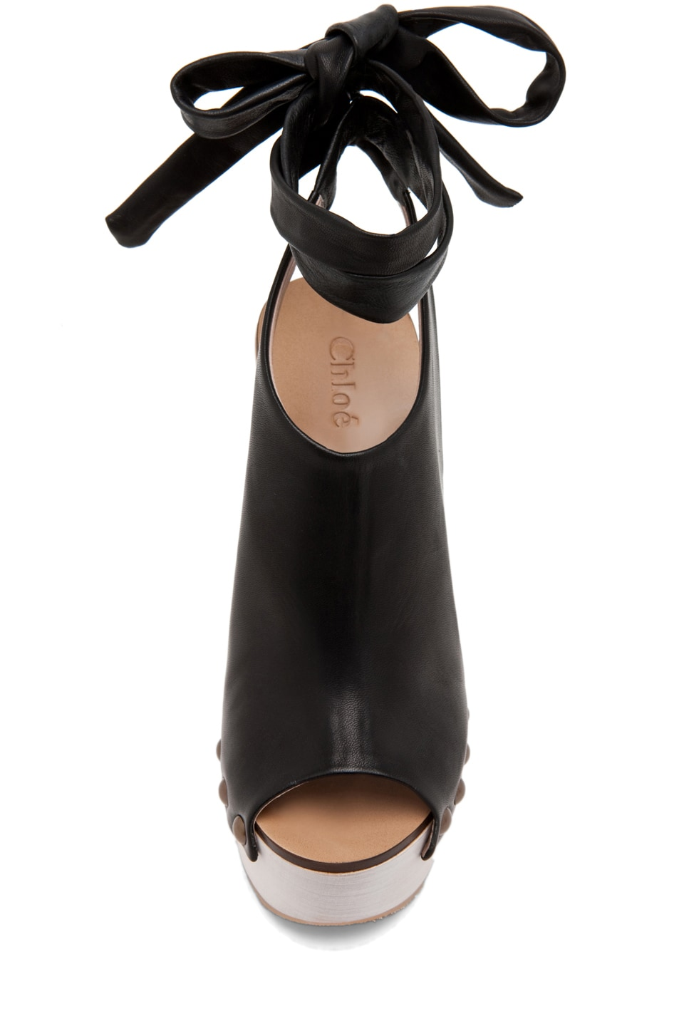Image 4 of Chloe Leather Wrap Around Wedges in Black