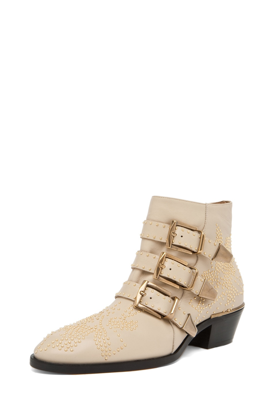 Image 2 of Chloe Susanna Leather Studded Bootie in Cream