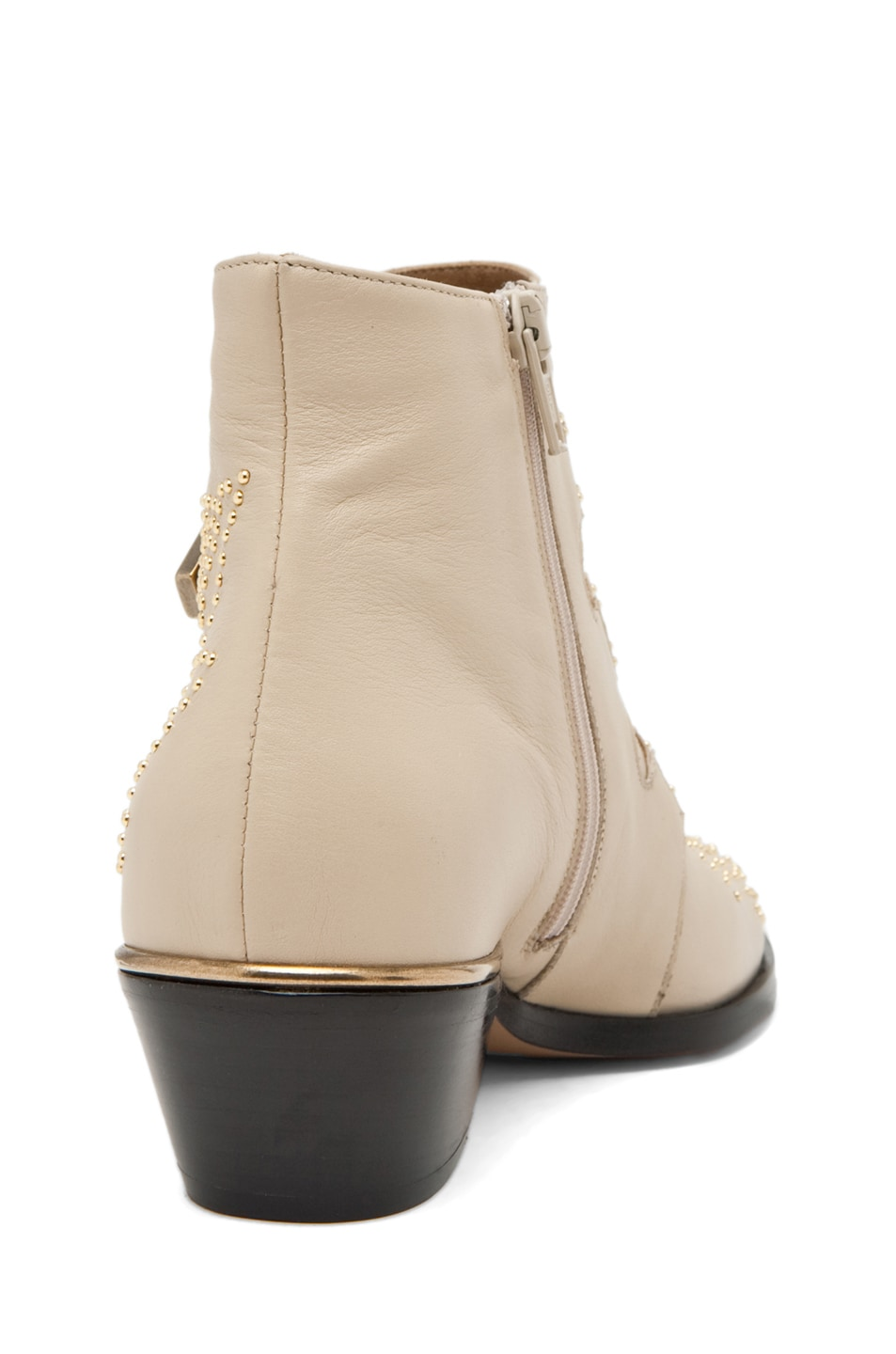 Image 3 of Chloe Susanna Leather Studded Bootie in Cream