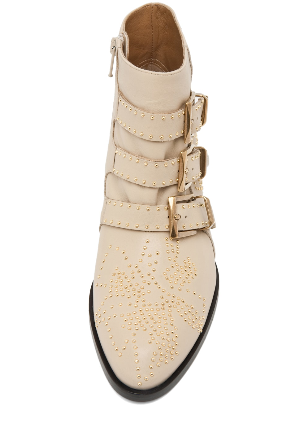 Image 4 of Chloe Susanna Leather Studded Bootie in Cream