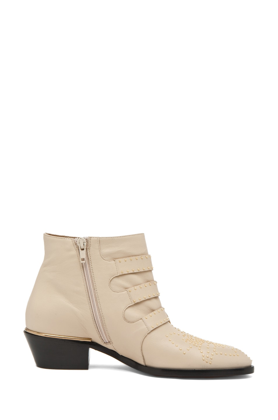 Image 5 of Chloe Susanna Leather Studded Bootie in Cream