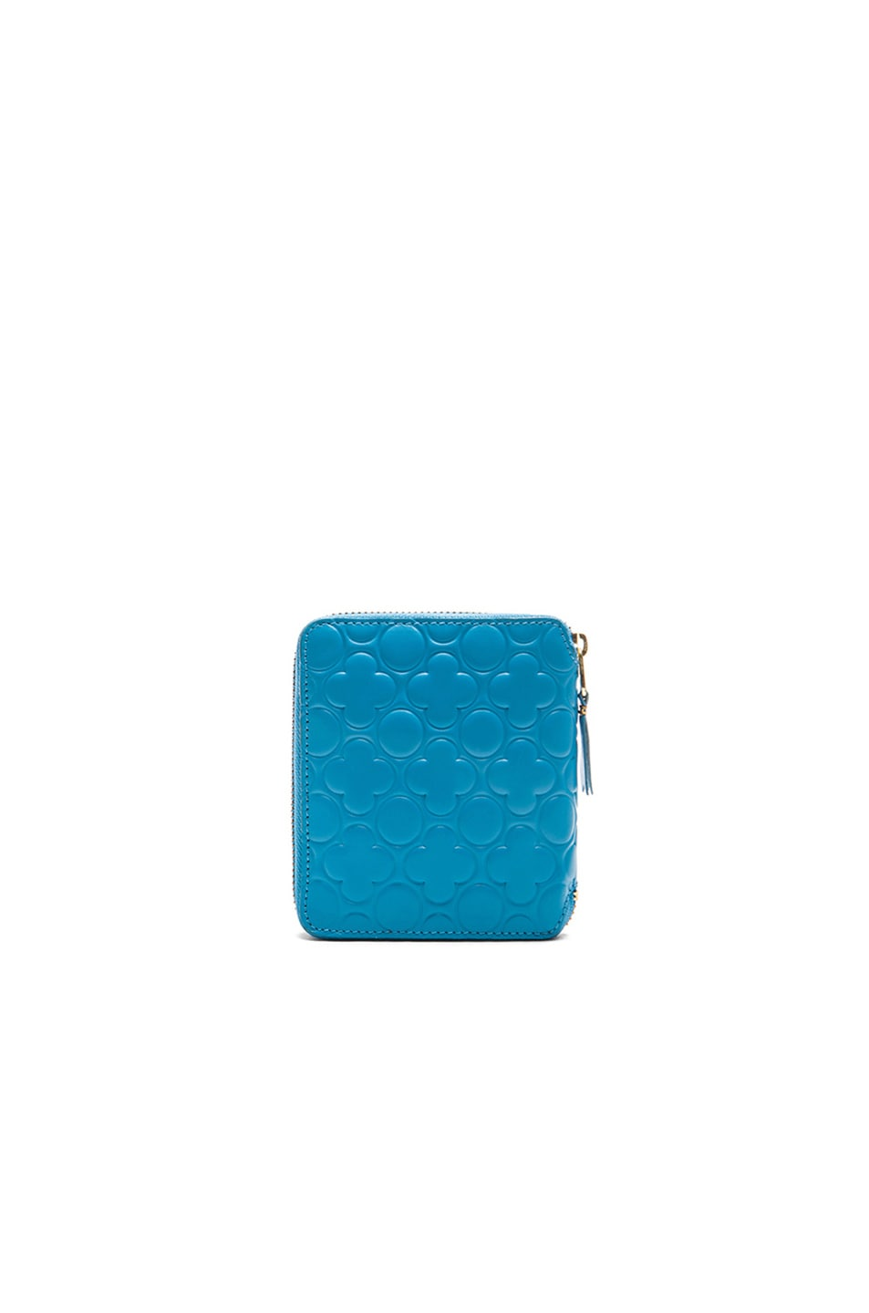 Image 2 of Comme Des Garcons Clover Embossed Zip Fold Wallet in Blue