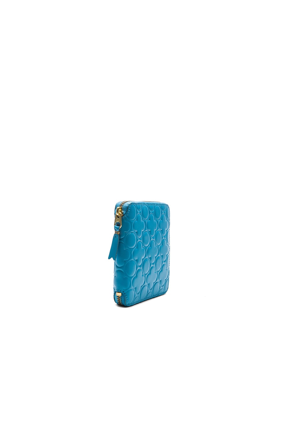 Image 3 of Comme Des Garcons Clover Embossed Zip Fold Wallet in Blue