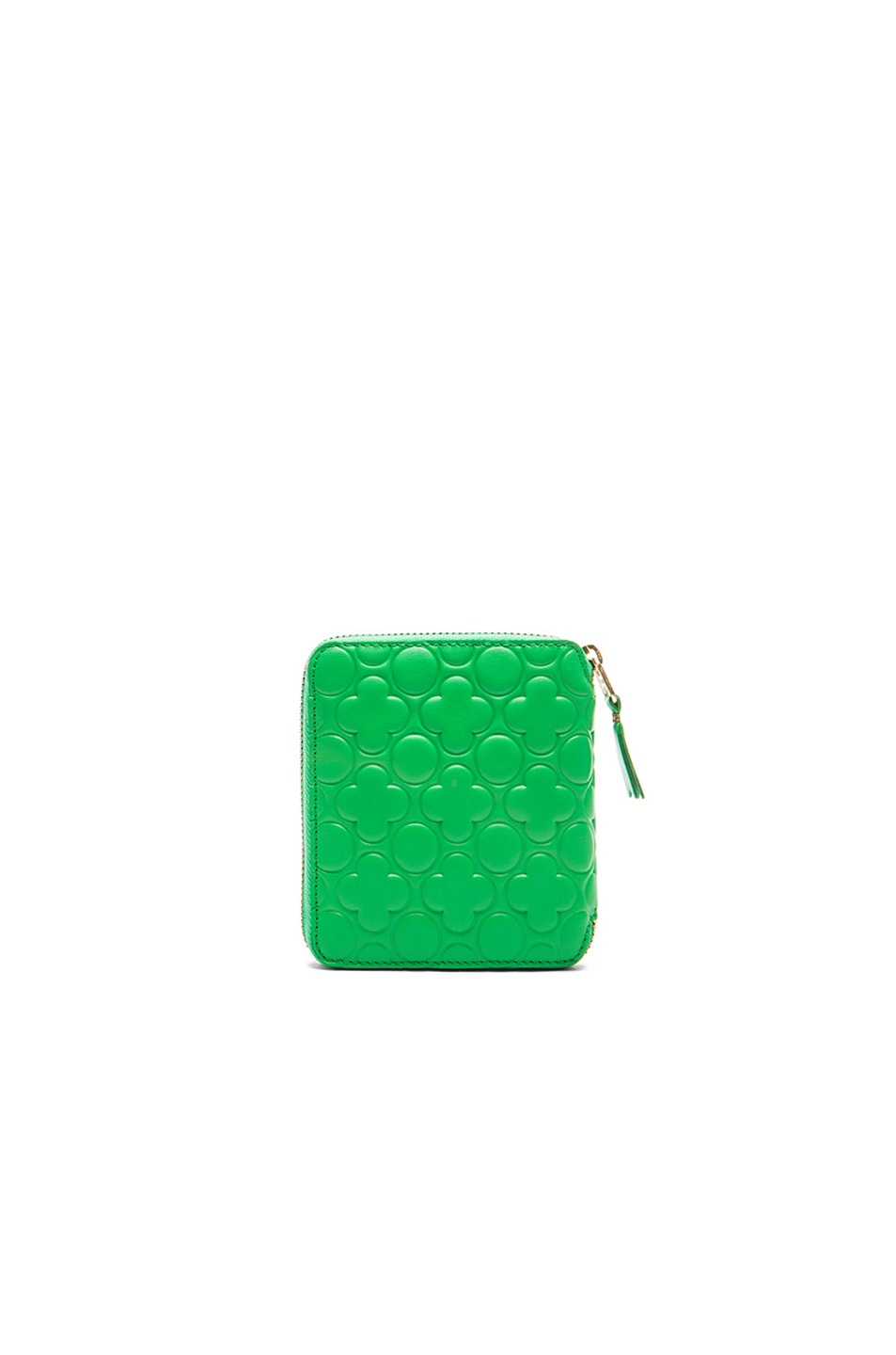 Image 2 of Comme Des Garcons Clover Embossed Zip Fold Wallet in Green