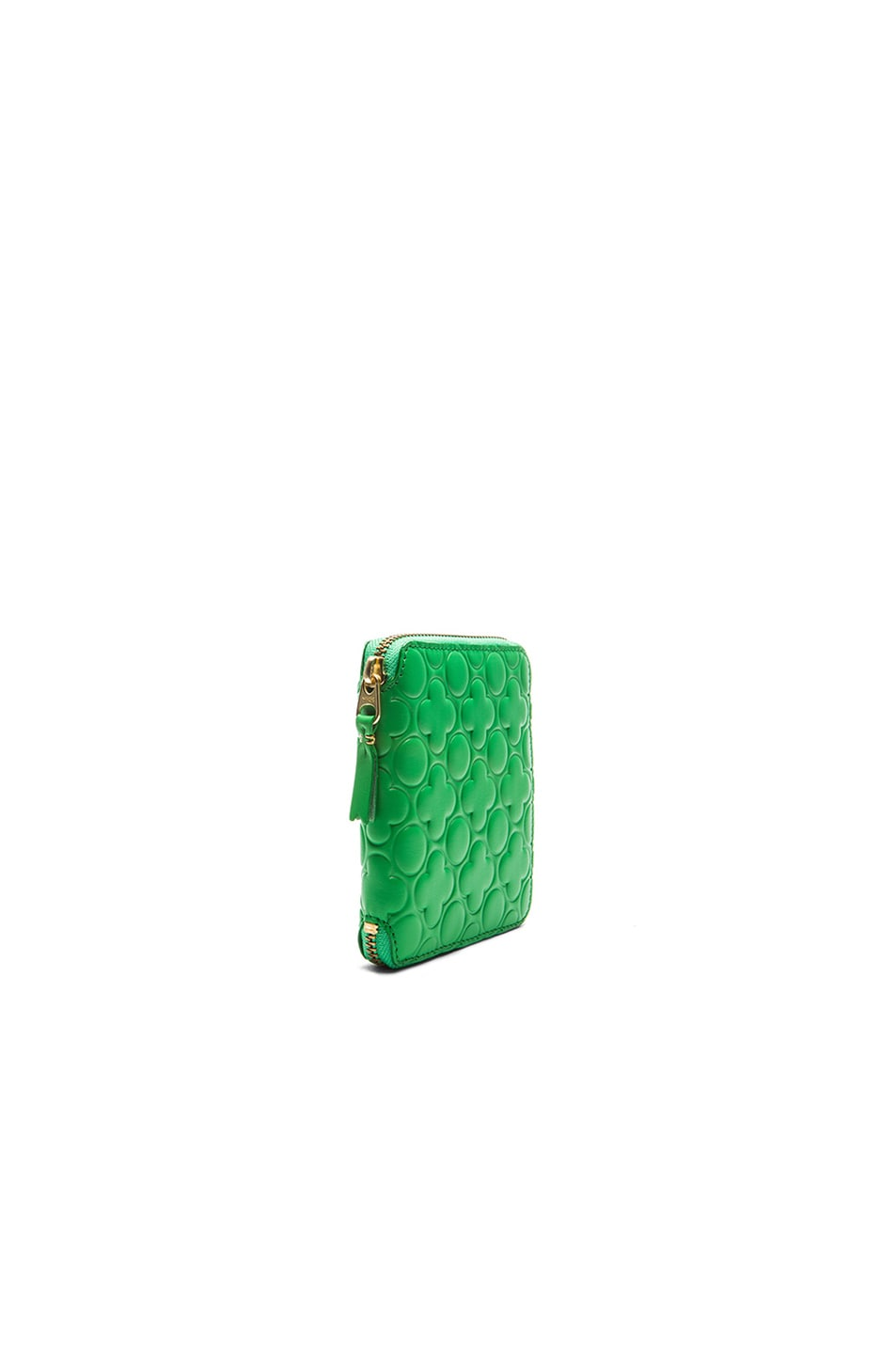 Image 3 of Comme Des Garcons Clover Embossed Zip Fold Wallet in Green