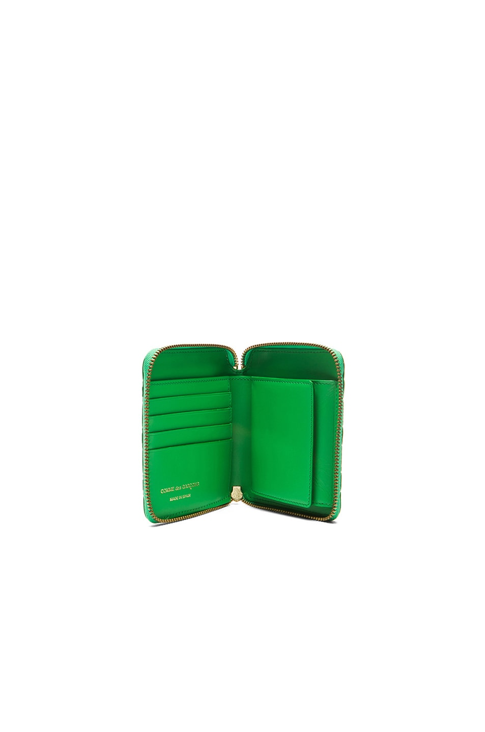 Image 4 of Comme Des Garcons Clover Embossed Zip Fold Wallet in Green