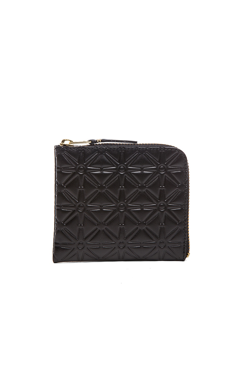 Image 1 of Comme Des Garcons Small Star Embossed Zip Wallet in Black