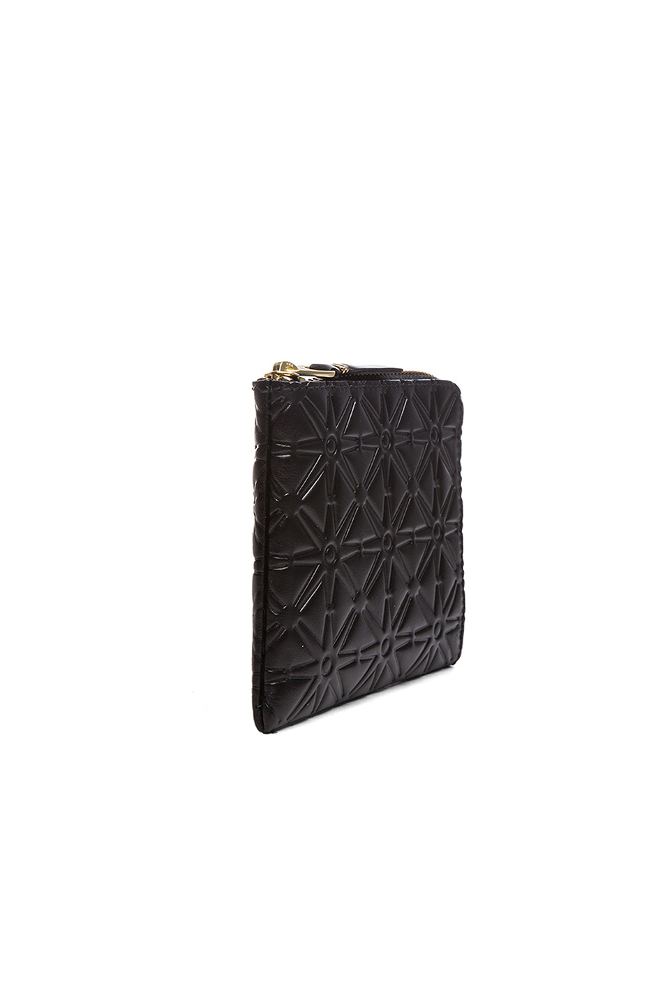 Image 3 of Comme Des Garcons Small Star Embossed Zip Wallet in Black