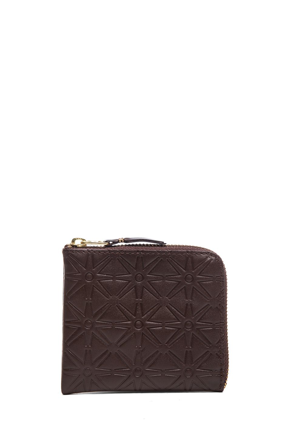 Image 1 of Comme Des Garcons Star Embossed Small Zip Wallet in Brown