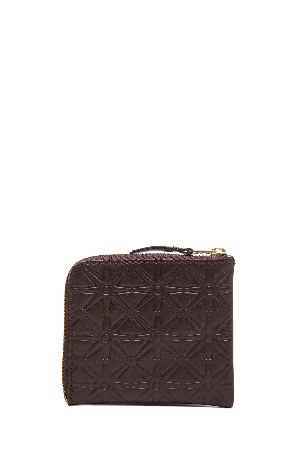 Image 2 of Comme Des Garcons Star Embossed Small Zip Wallet in Brown