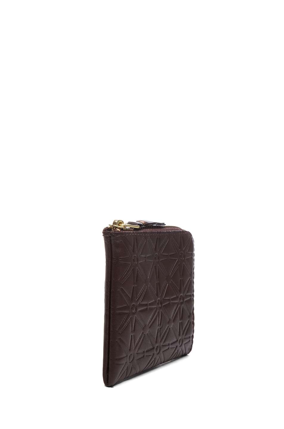 Image 3 of Comme Des Garcons Star Embossed Small Zip Wallet in Brown