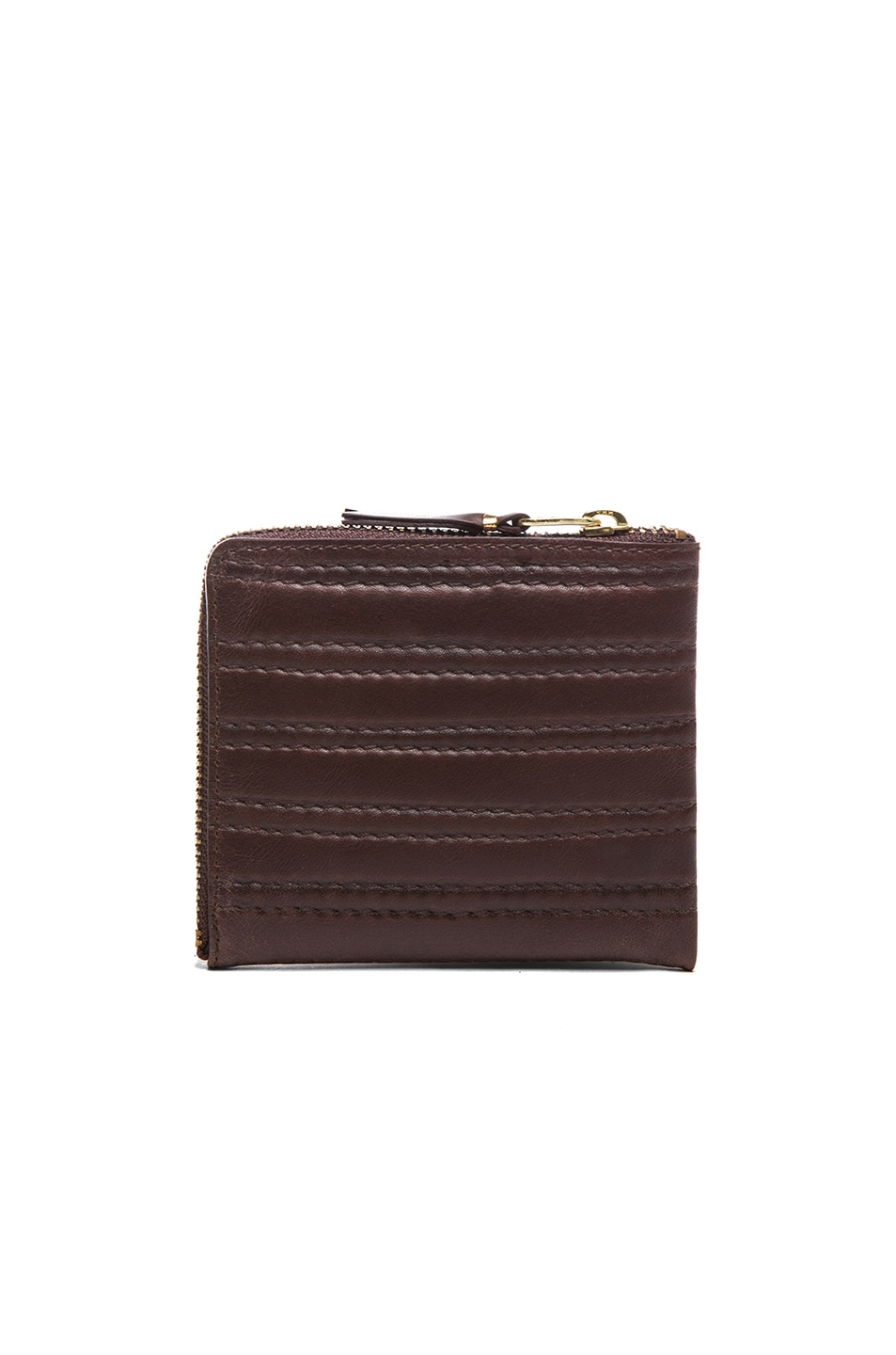 Image 2 of Comme Des Garcons Embossed Stitch Small Zip Wallet in Brown