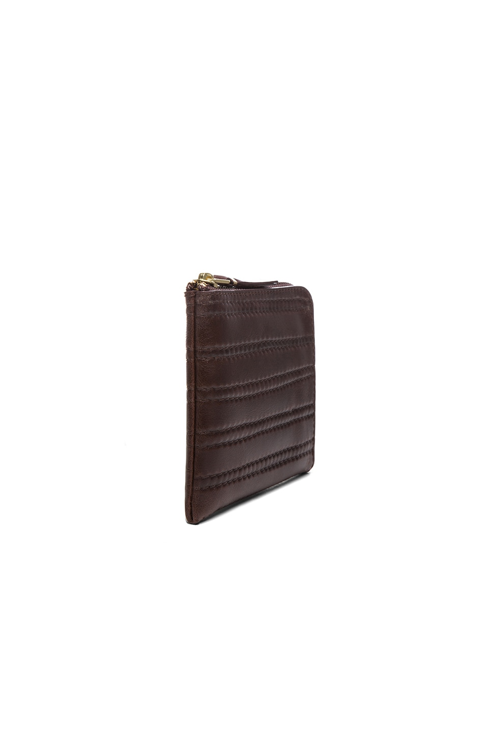 Image 3 of Comme Des Garcons Embossed Stitch Small Zip Wallet in Brown