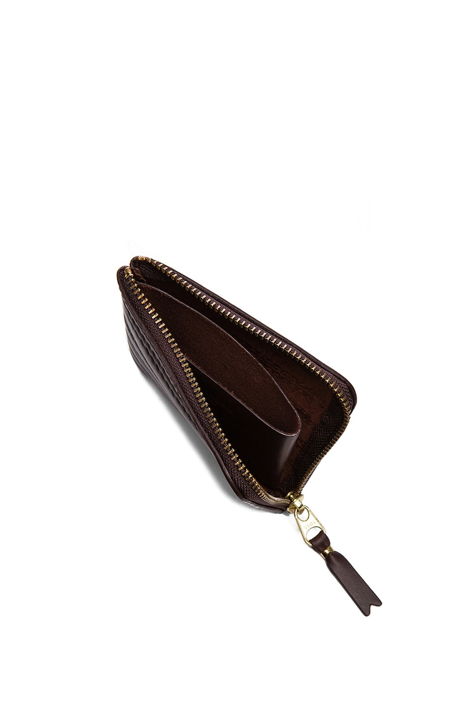 Image 4 of Comme Des Garcons Embossed Stitch Small Zip Wallet in Brown
