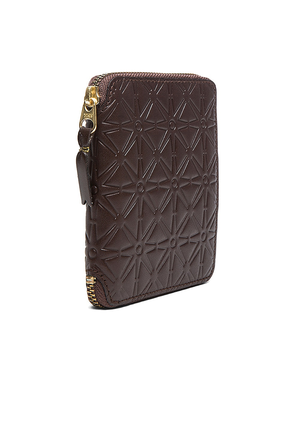 Image 3 of Comme Des Garcons Star Embossed Zip Fold Wallet in Brown