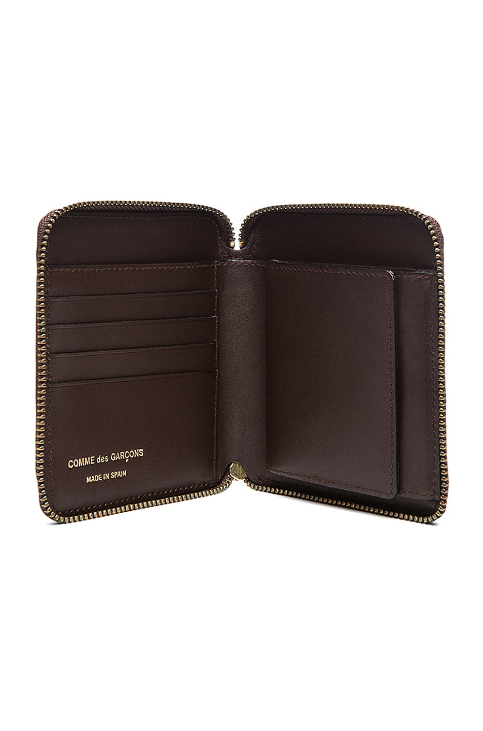 Image 4 of Comme Des Garcons Star Embossed Zip Fold Wallet in Brown