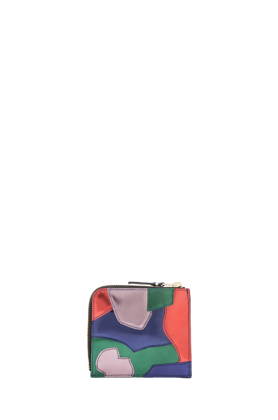 Image 2 of Comme Des Garcons Small Patchwork Metal Zip Wallet in Multi