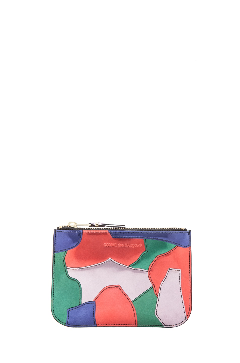 Image 1 of Comme Des Garcons Small Patchwork Metal Zip Pouch in Multi