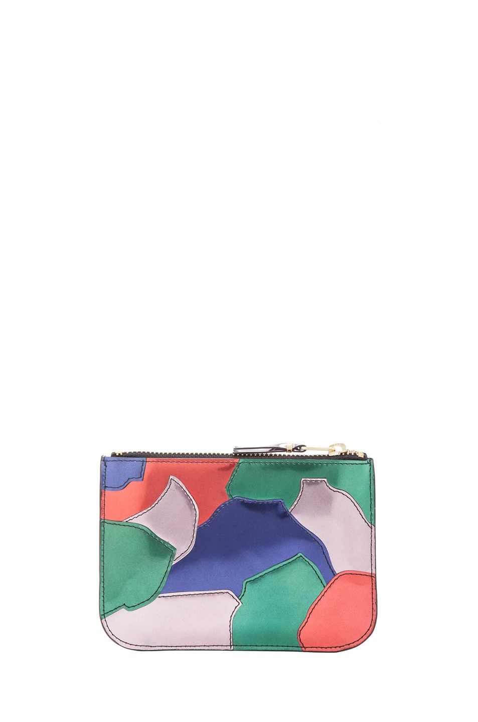 Image 2 of Comme Des Garcons Small Patchwork Metal Zip Pouch in Multi