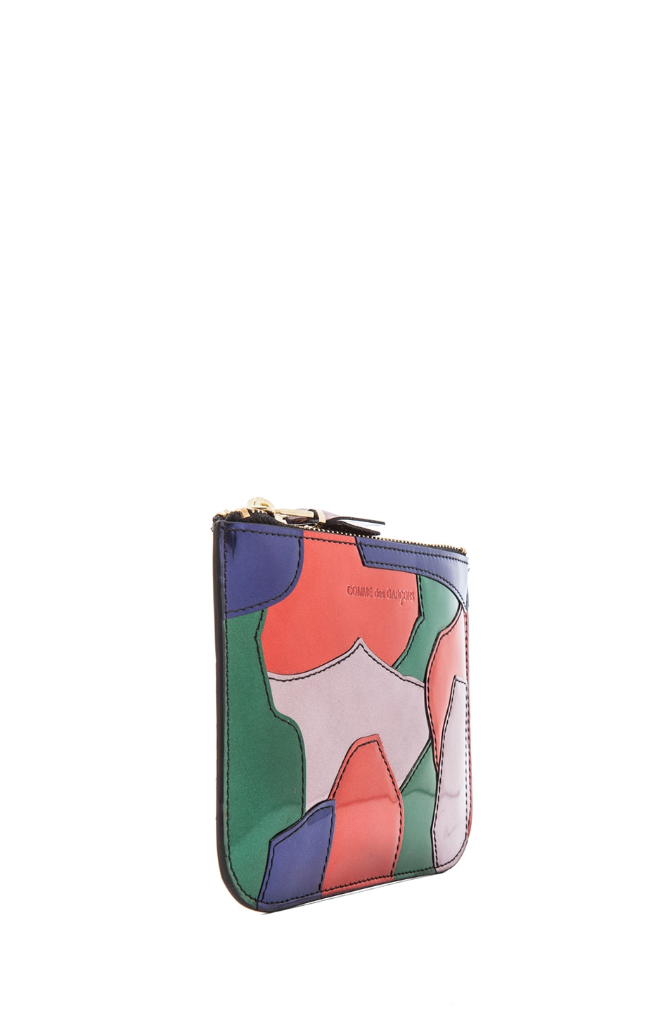Image 3 of Comme Des Garcons Small Patchwork Metal Zip Pouch in Multi