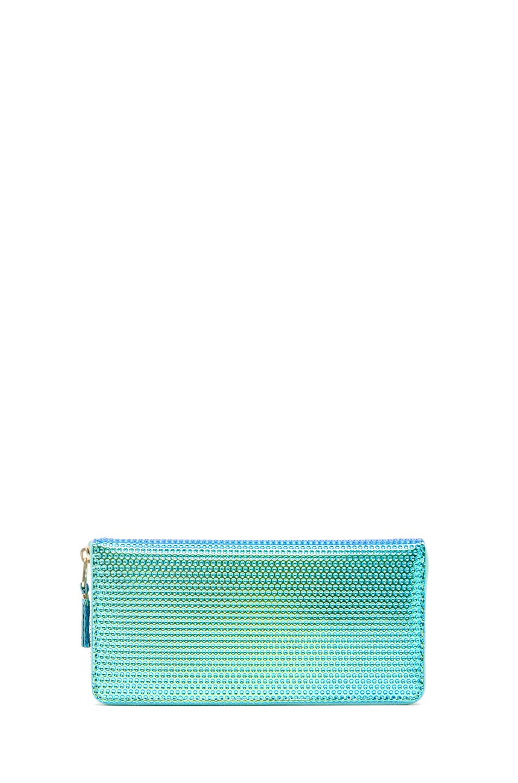 Image 1 of Comme Des Garcons Emboss Metallic Long Wallet in Green