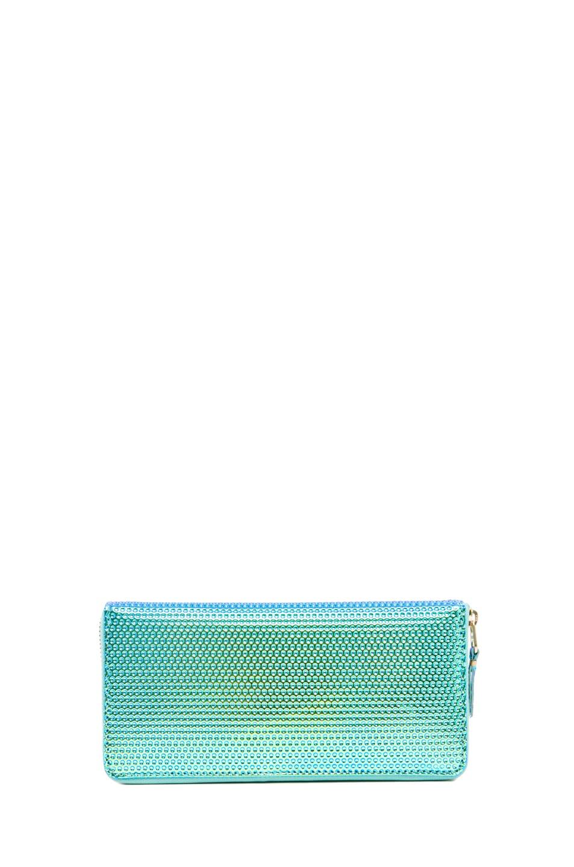 Image 2 of Comme Des Garcons Emboss Metallic Long Wallet in Green