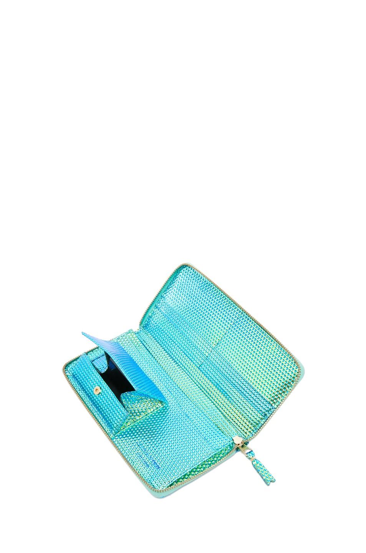 Image 5 of Comme Des Garcons Emboss Metallic Long Wallet in Green