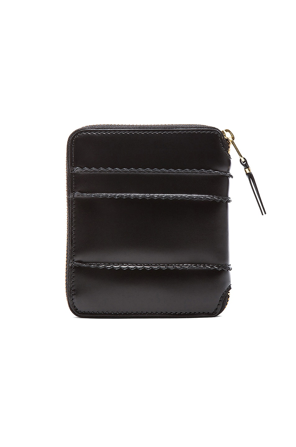 Image 2 of Comme Des Garcons Raised Spike Zip Fold Wallet in Black