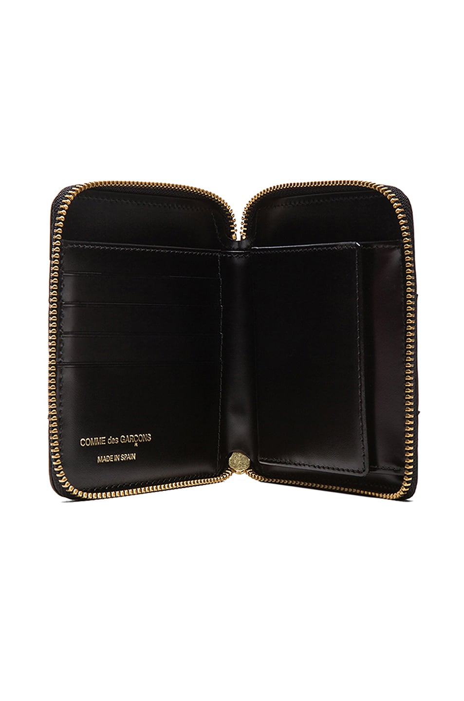 Image 4 of Comme Des Garcons Raised Spike Zip Fold Wallet in Black