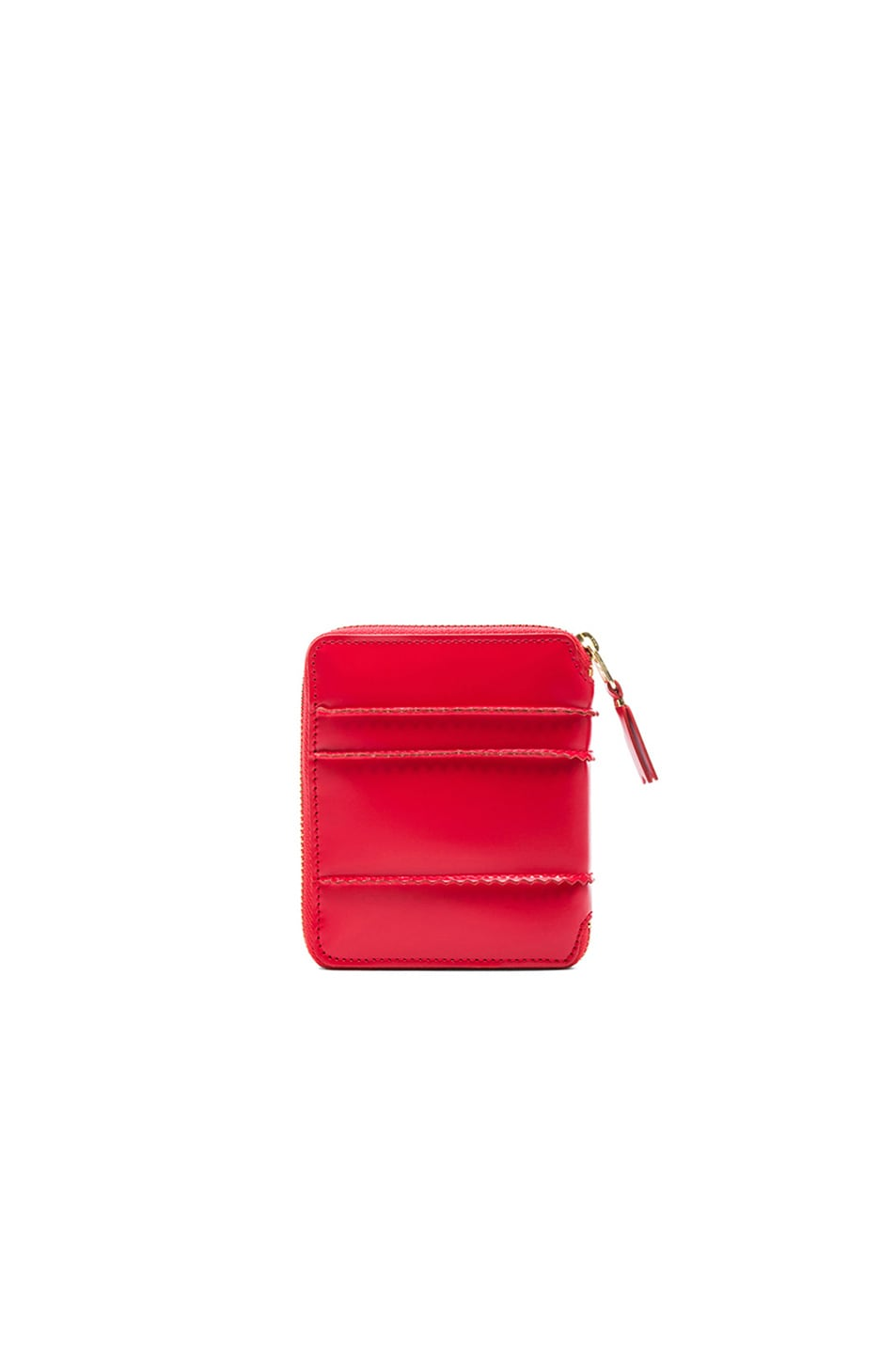 Image 2 of Comme Des Garcons Raised Spike Zip Fold Wallet in Red