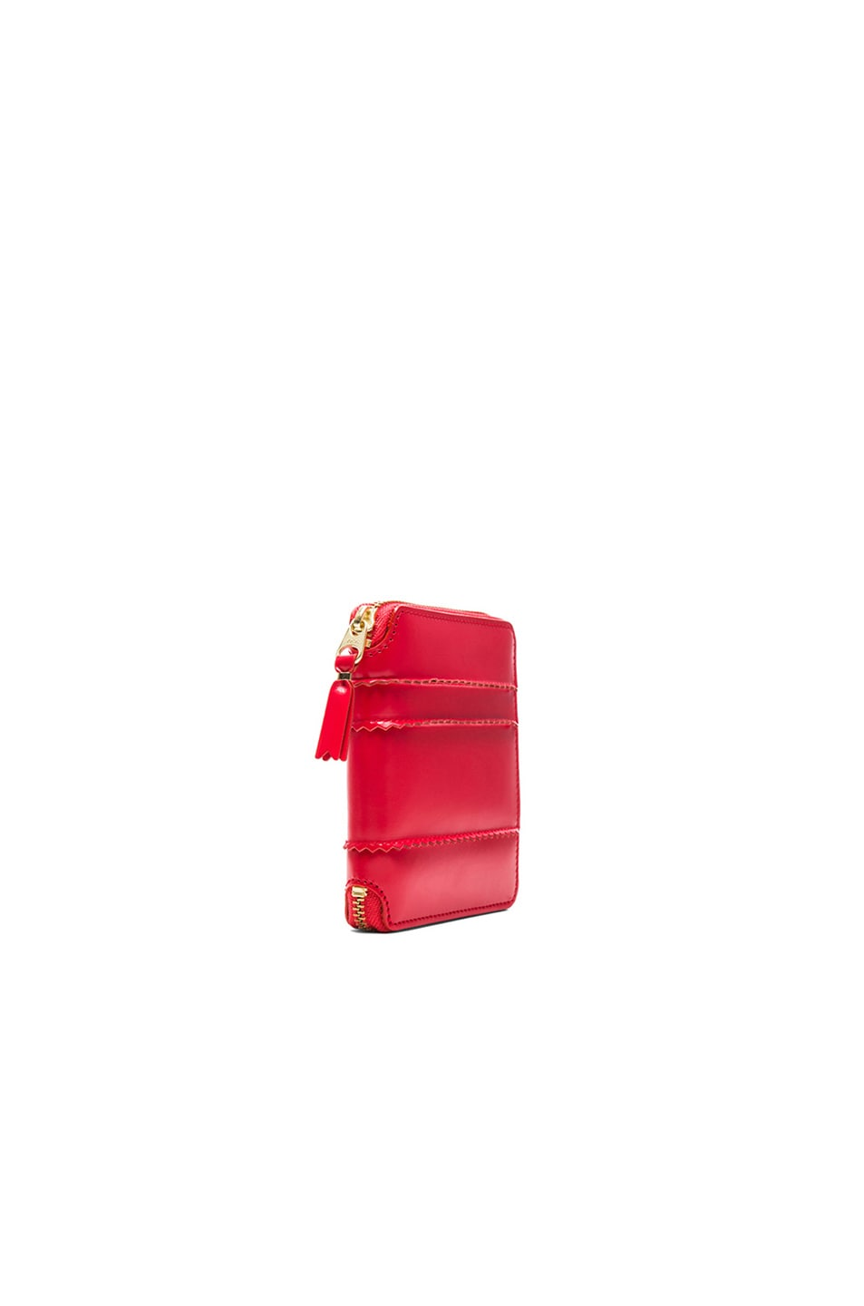 Image 3 of Comme Des Garcons Raised Spike Zip Fold Wallet in Red