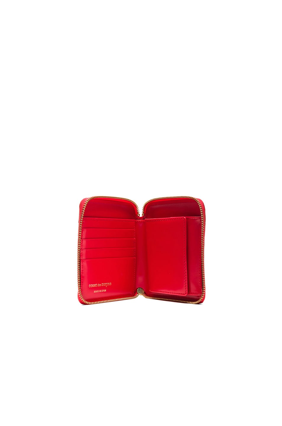 Image 4 of Comme Des Garcons Raised Spike Zip Fold Wallet in Red