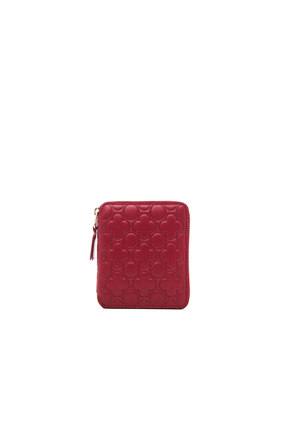 Image 1 of Comme Des Garcons Clover Embossed Zip Fold Wallet in Red