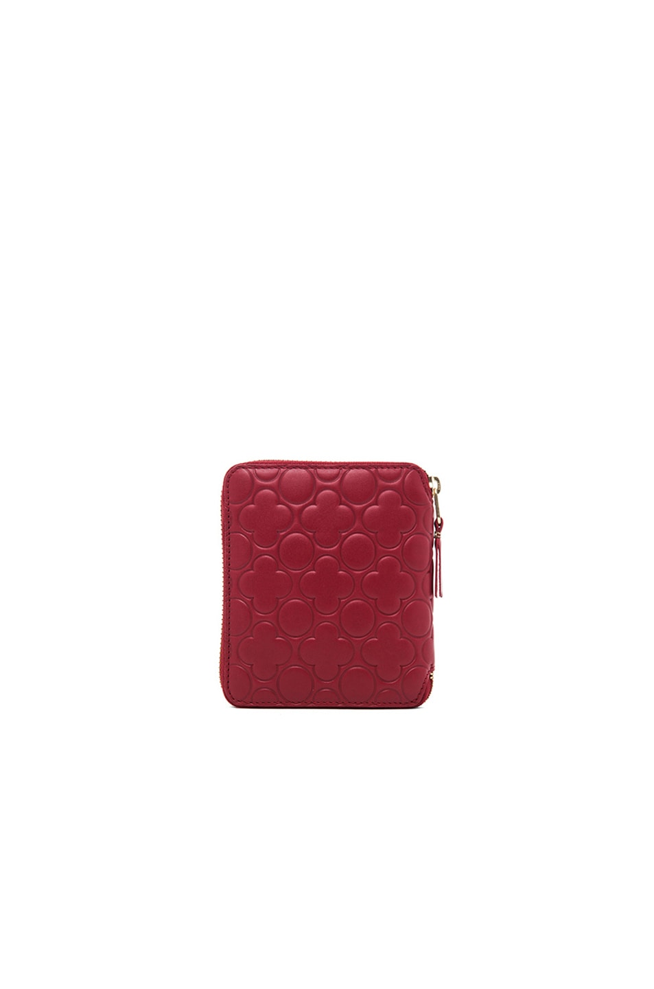 Image 2 of Comme Des Garcons Clover Embossed Zip Fold Wallet in Red