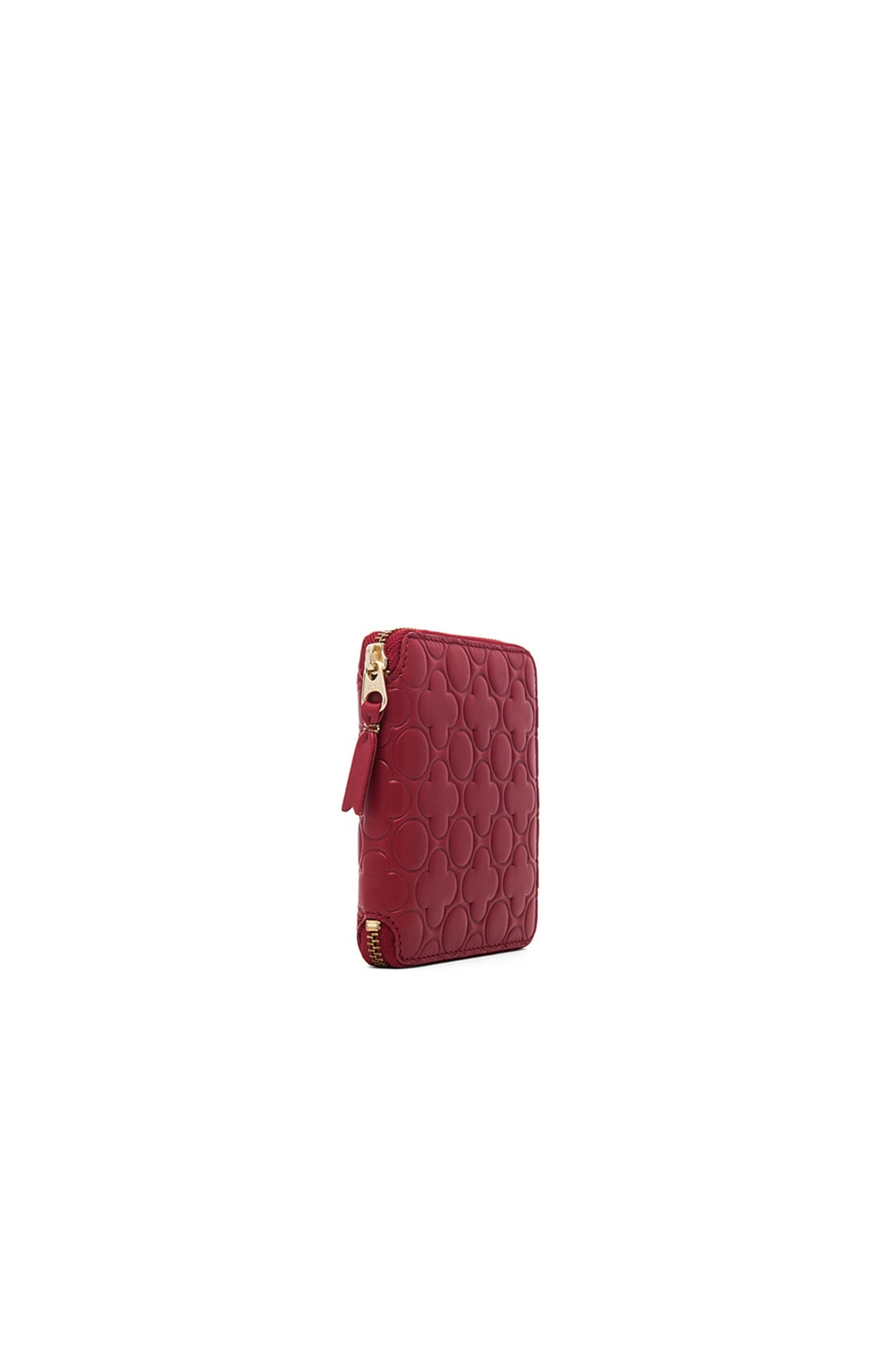 Image 3 of Comme Des Garcons Clover Embossed Zip Fold Wallet in Red