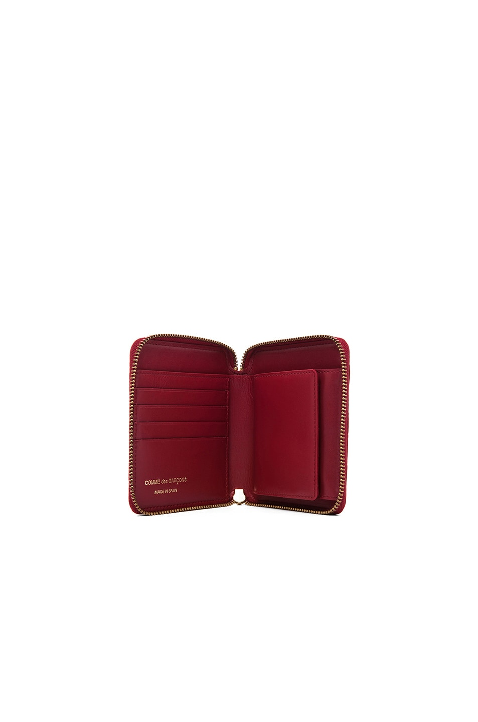 Image 4 of Comme Des Garcons Clover Embossed Zip Fold Wallet in Red