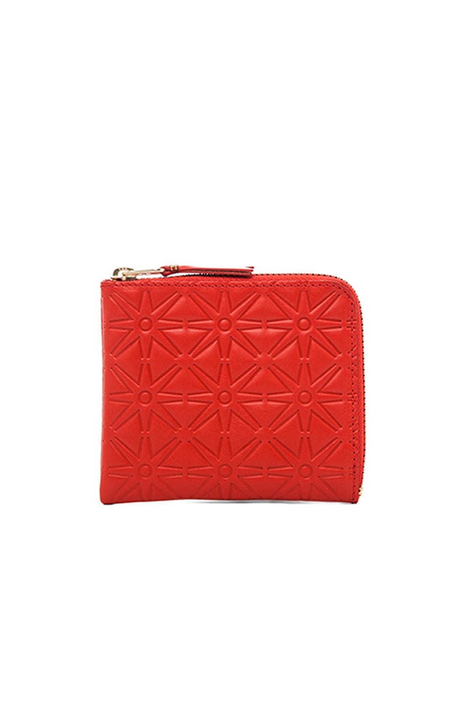 Image 1 of Comme Des Garcons Star Embossed Small Zip Wallet in Orange