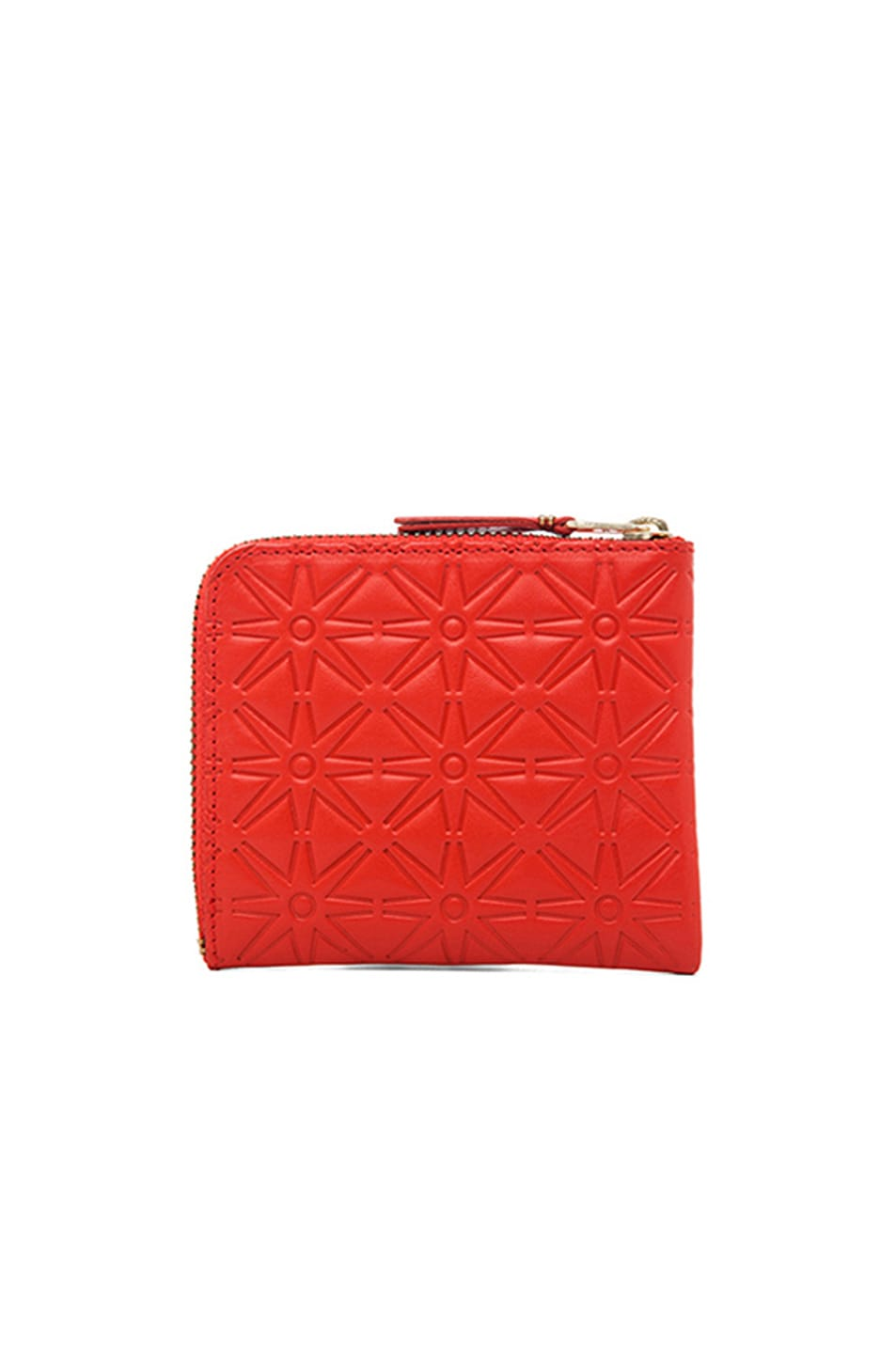 Image 2 of Comme Des Garcons Star Embossed Small Zip Wallet in Orange