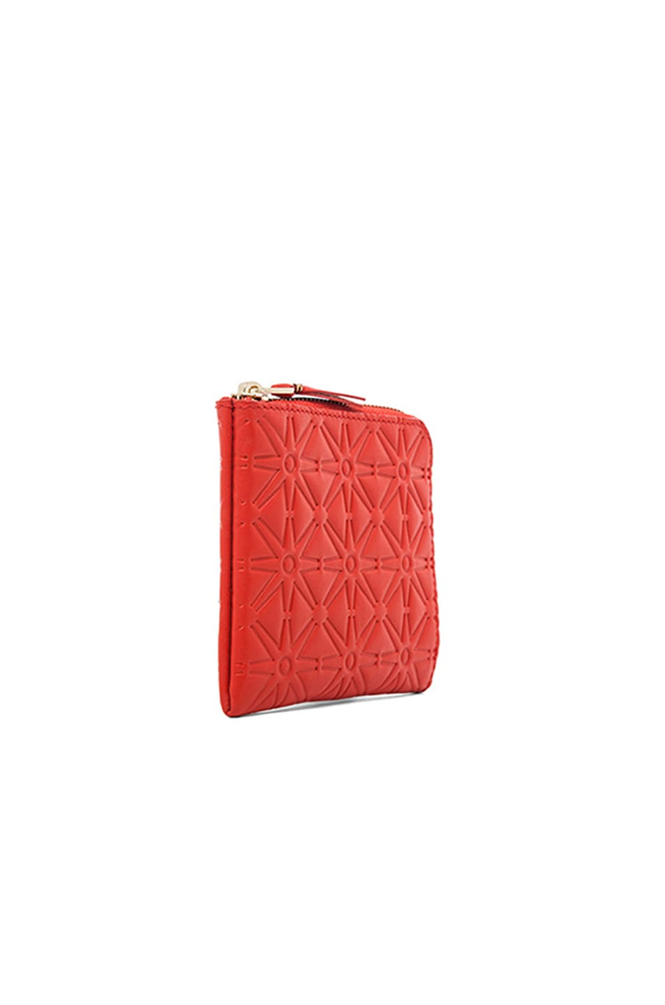 Image 3 of Comme Des Garcons Star Embossed Small Zip Wallet in Orange